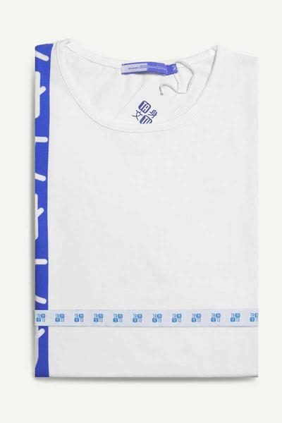 Stripe Blanca con Estampado Azul
