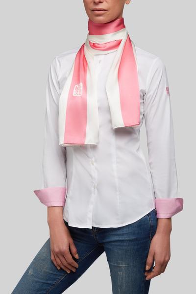 Blanco contraste linea rosa