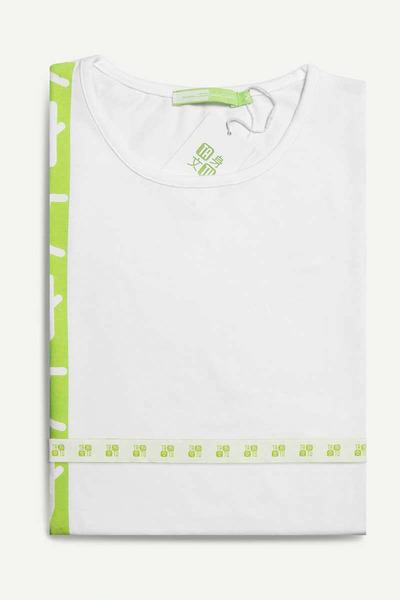 Stripe Blanca con Estampado Verde